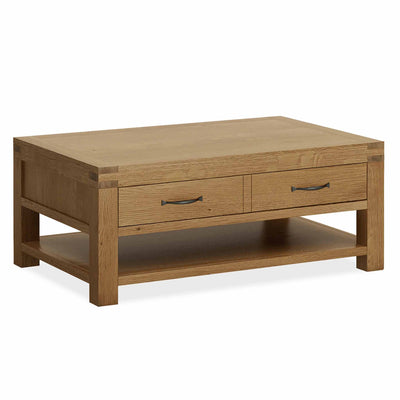 The Abbey Grande Oak Coffee Table with Storage Drawer from Roseland Furniture
