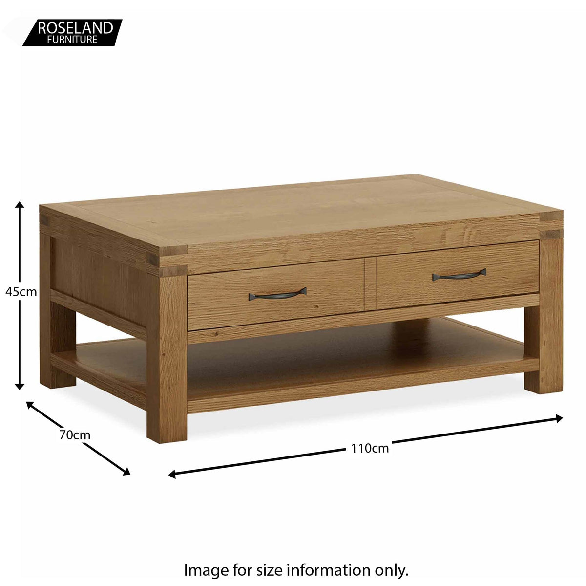 Abbey Grande Oak Coffee Table with Storage Drawer - Size guide
