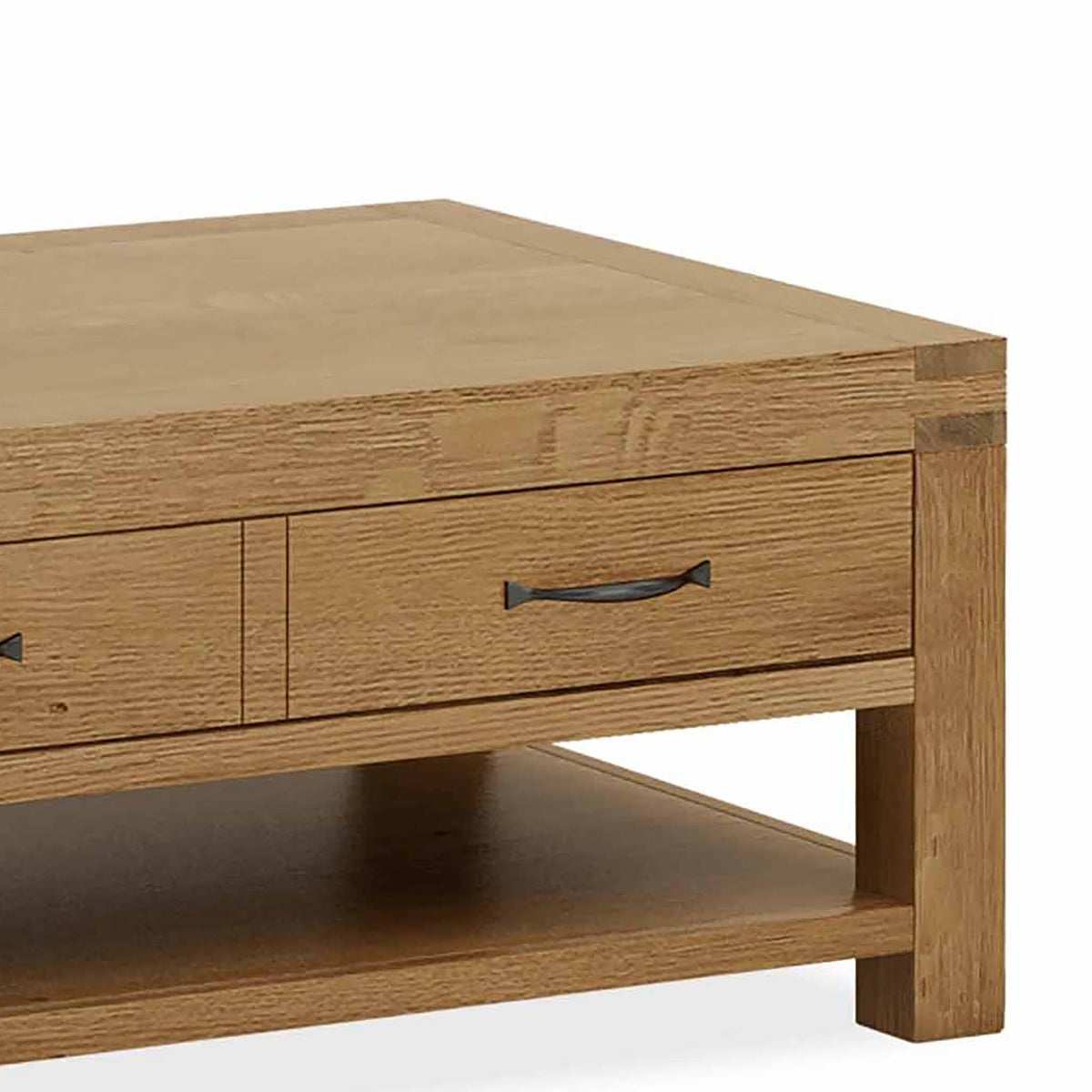 Abbey Grande Oak Coffee Table with Storage Drawer - Close Up of side