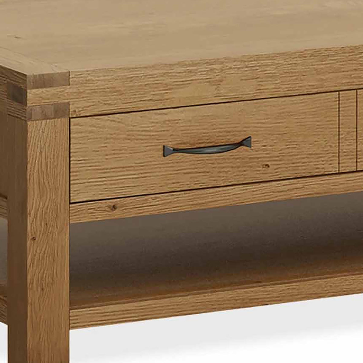 Abbey Grande Oak Coffee Table - Close Up Storage Drawer Handle