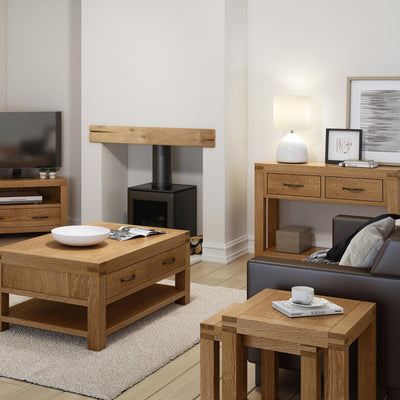Abbey Grande Oak Coffee Table with Storage Drawer -  Lifestyle