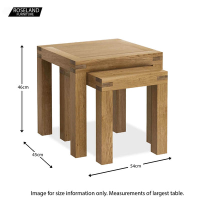 Abbey Grande Oak Nest of Tables - Size guide