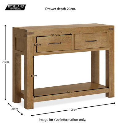 Abbey Grande Oak Console Table with Drawers - Size guide