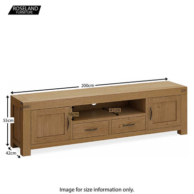 Abbey Grande 200cm Large TV Stand - Size guide