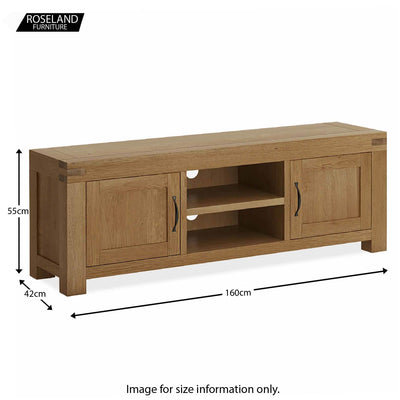 Abbey Grande 160cm Oak TV Stand - Size guide