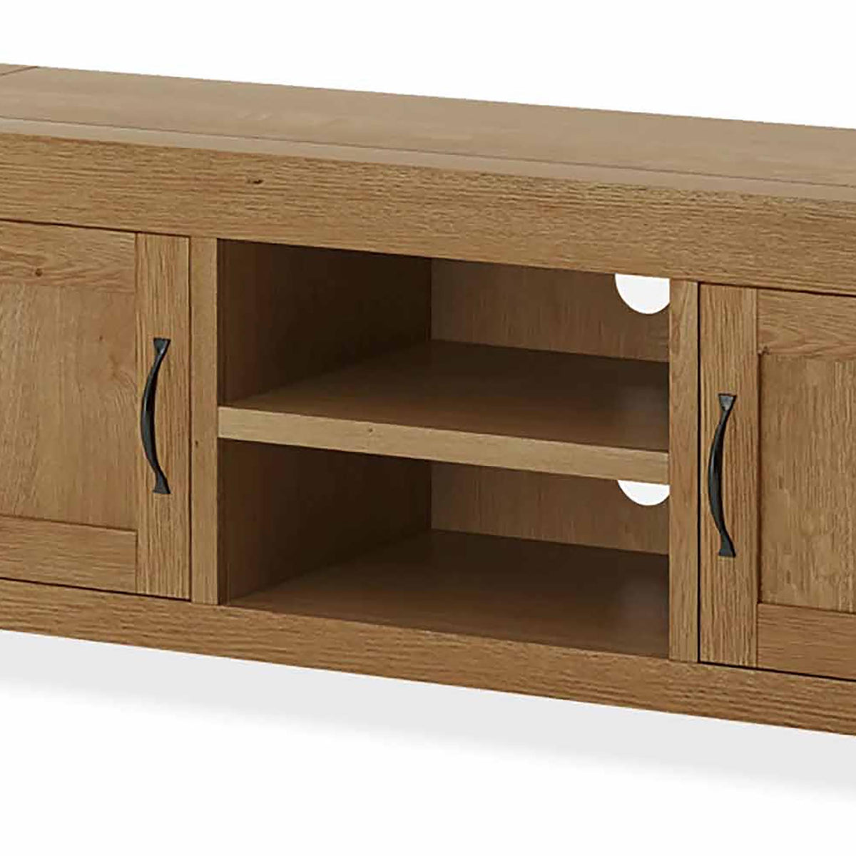 The Abbey Grande 160cm Oak TV Stand - Close Up of Mid Section