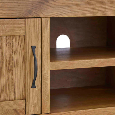Abbey Grande 125cm Oak TV Stand - Close up of shelves