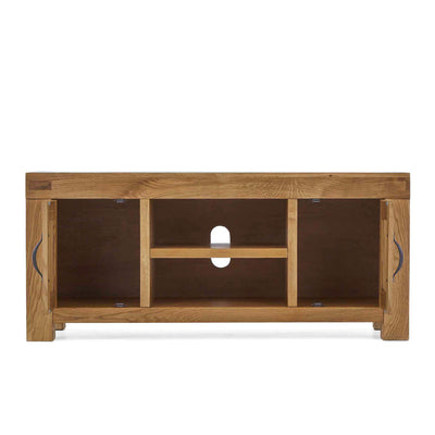 Abbey Grande 125cm Oak TV Stand - Front view with cupboard doors open