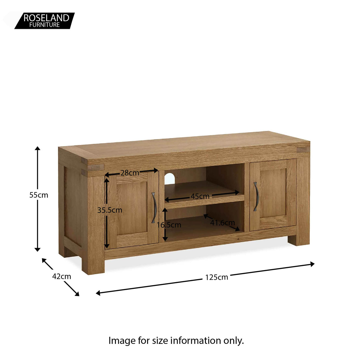 Abbey Grande 125cm Oak TV Stand - Size guide