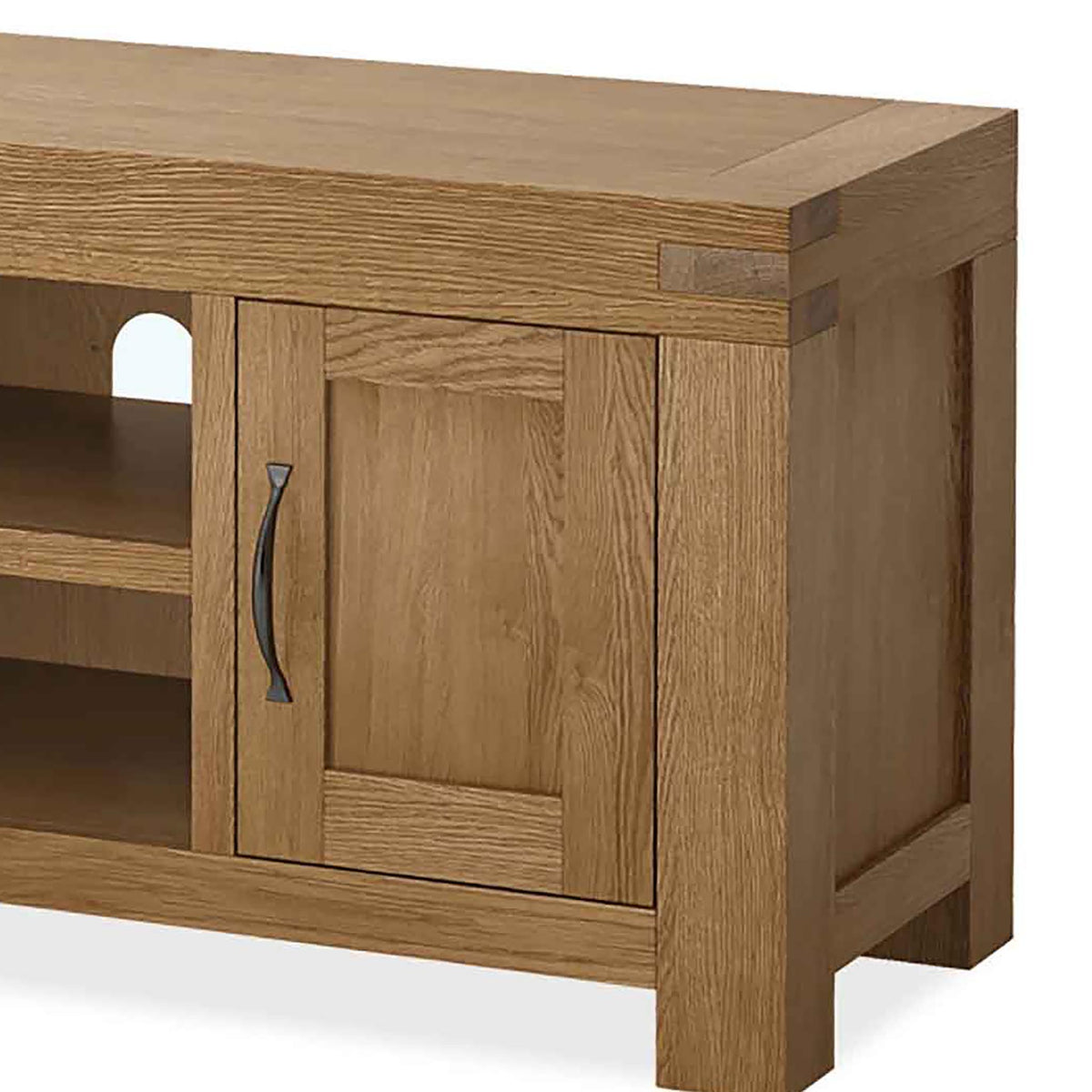 Abbey Grande 125cm Oak TV Stand - Close Up of Cupboard