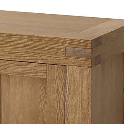 Abbey Grande 125cm Oak TV Stand - Close Up of Top Corner