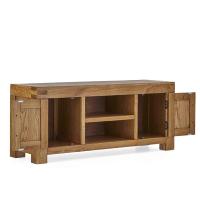 Abbey Grande 125cm Oak TV Stand - Side view with doors open