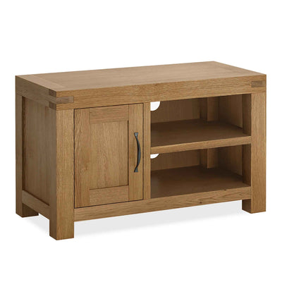 The Abbey Grande 90cm Oak Small TV Stand Storage Unit from Roseland Furniture