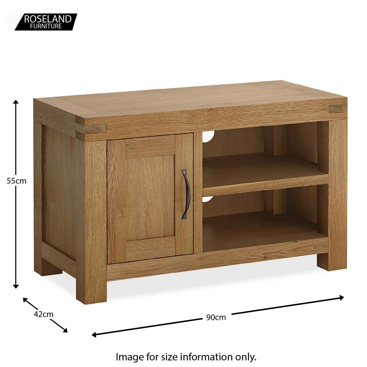 Abbey Grande 90cm Oak Small TV Stand - Size guide