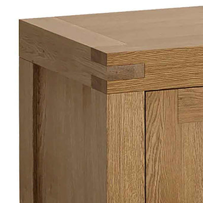 The Abbey Grande Extra Large King Oak Sideboard - Close Up of Corner