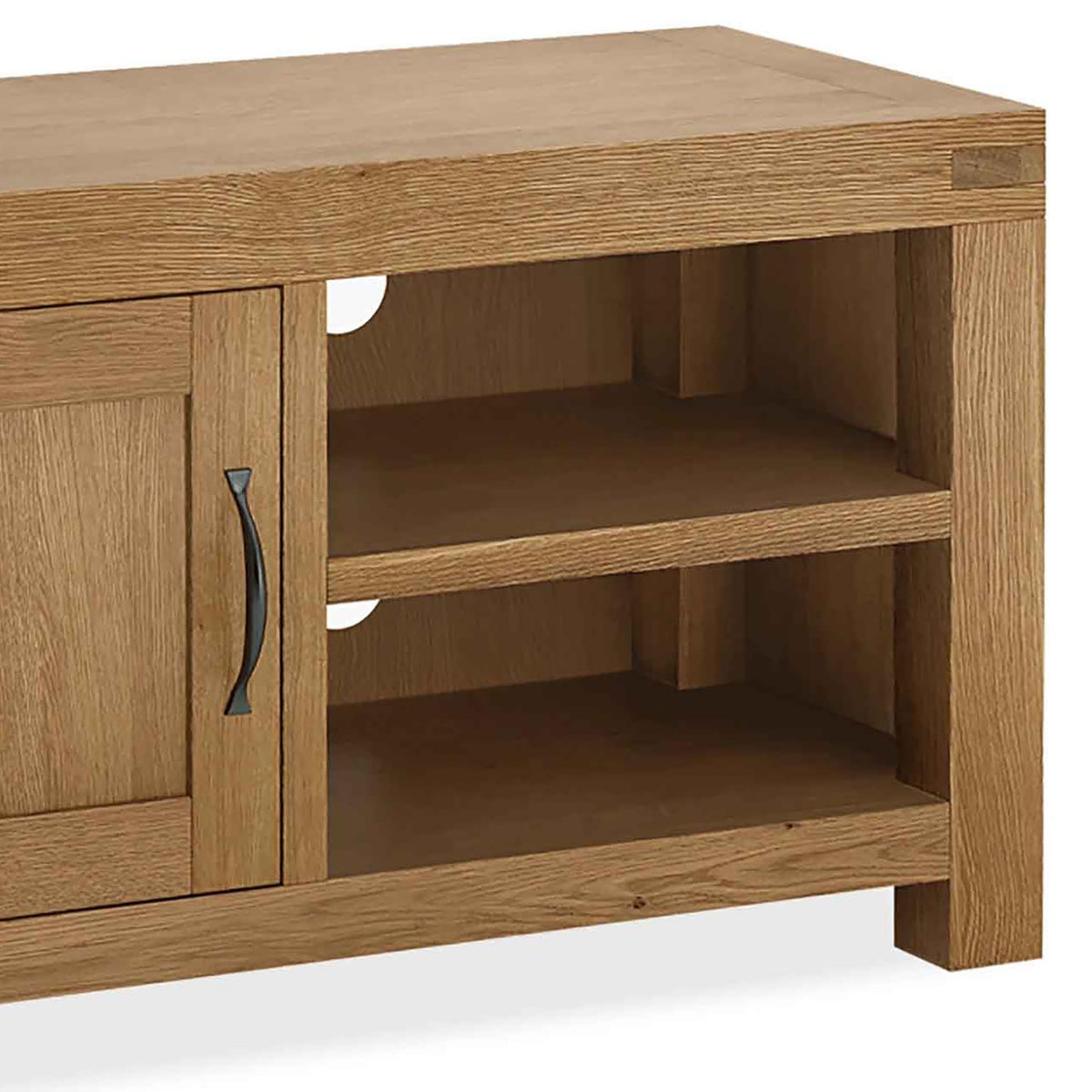 The Abbey Grande 90cm Oak Small TV Stand - Close Up of Shelving