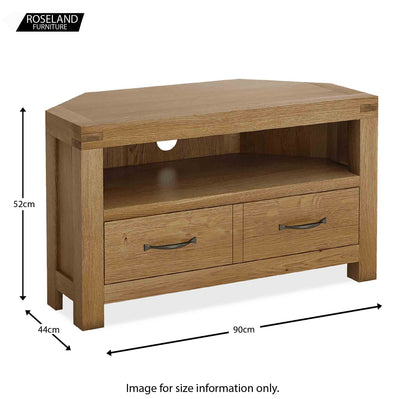 Abbey Grande Oak Corner TV Stand - Size guide
