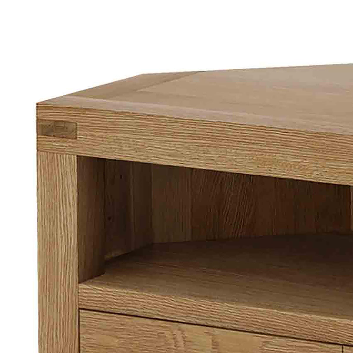 Abbey Grande Oak Corner TV Stand - Top Corner Close Up