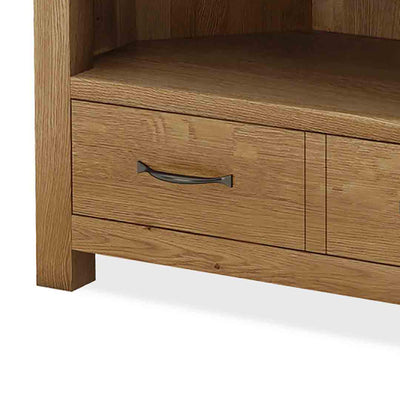 Abbey Grande Oak Corner TV Stand - Shelf Close Up
