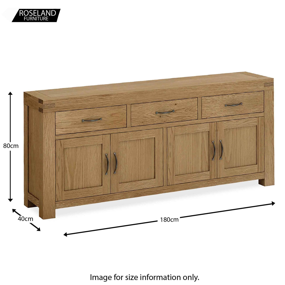 Abbey Grande Oak Extra Large King Sideboard - Size guide