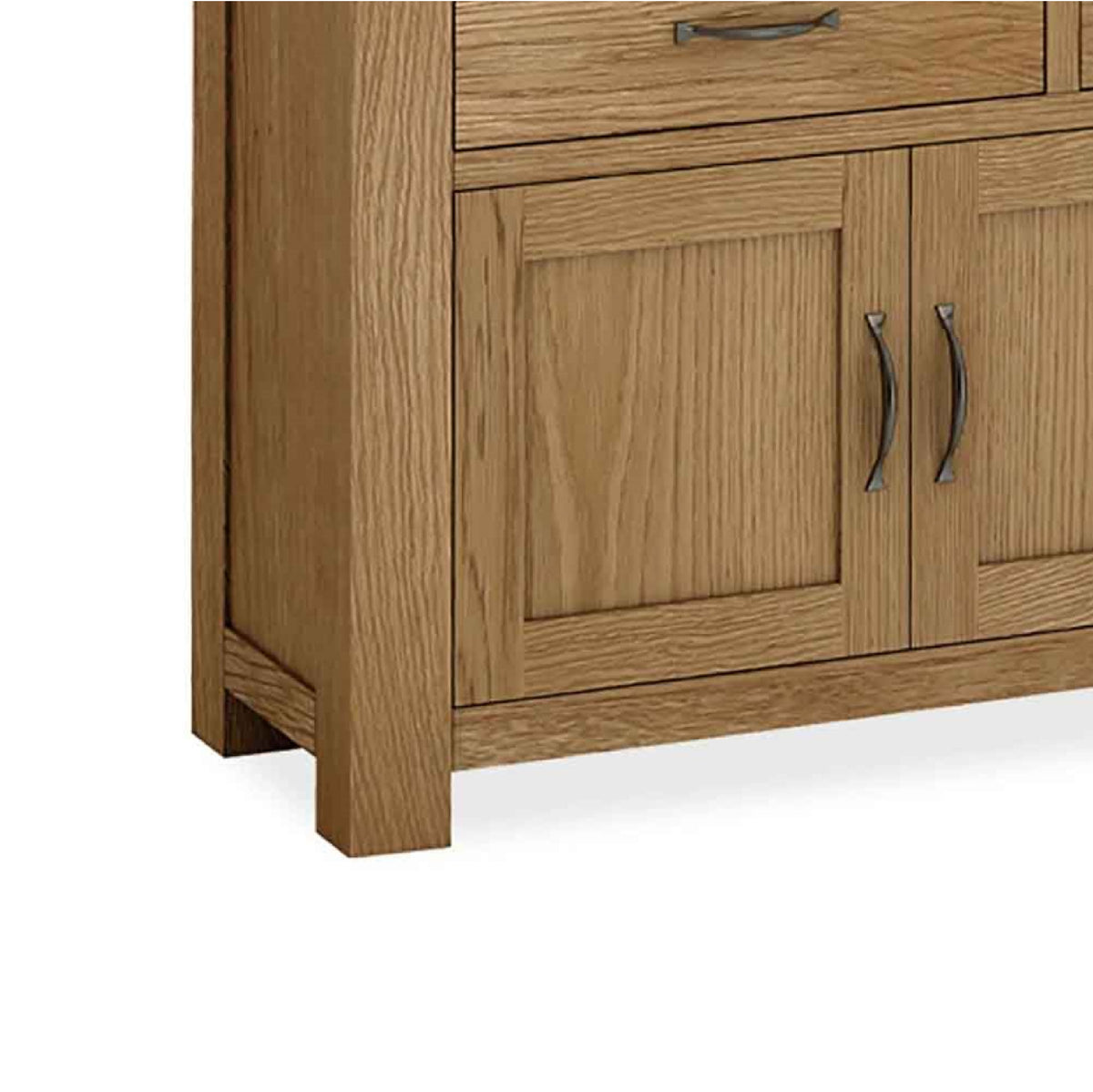 The Abbey Grande Extra Large King Oak Sideboard - Close Up of Bottom Corner