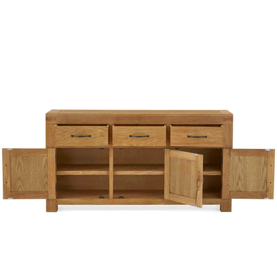 Abbey Grande Oak Large Sideboard - Front view with cupboard doors and drawers open