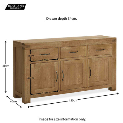 Abbey Grande Oak Large Sideboard - Size guide