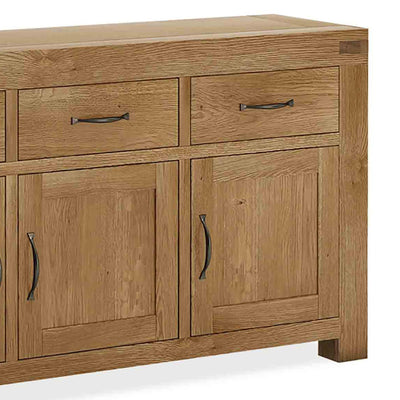 The Abbey Grande Oak Large Sideboard - Close Up of End of Sideboard