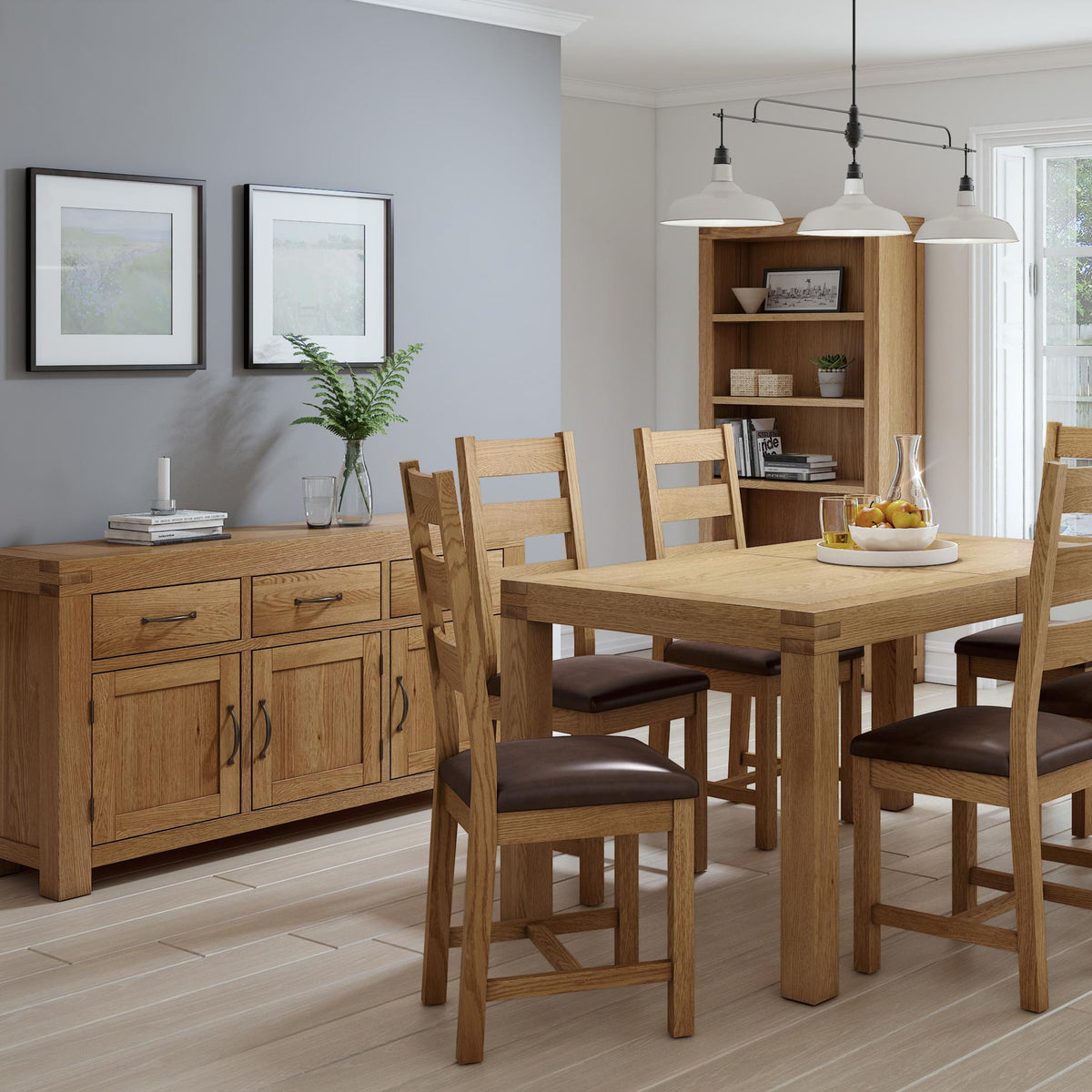 The Abbey Grande Oak Large Sideboard - Lifestyle