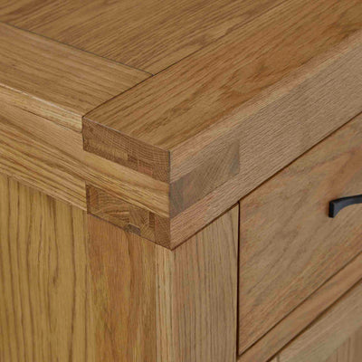 Abbey Grande Oak Large Sideboard - Close up of tenon joint on corner of sideboard
