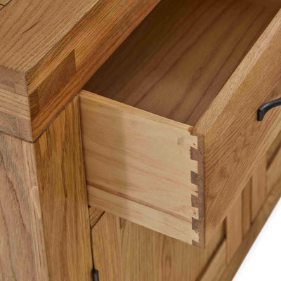 Abbey Grande Oak Large Sideboard - Close up of dovetail joints on open drawer
