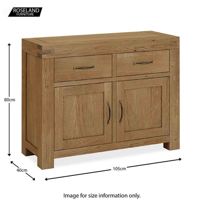 Abbey Grande Oak Small Sideboard Cabinet - Size guide