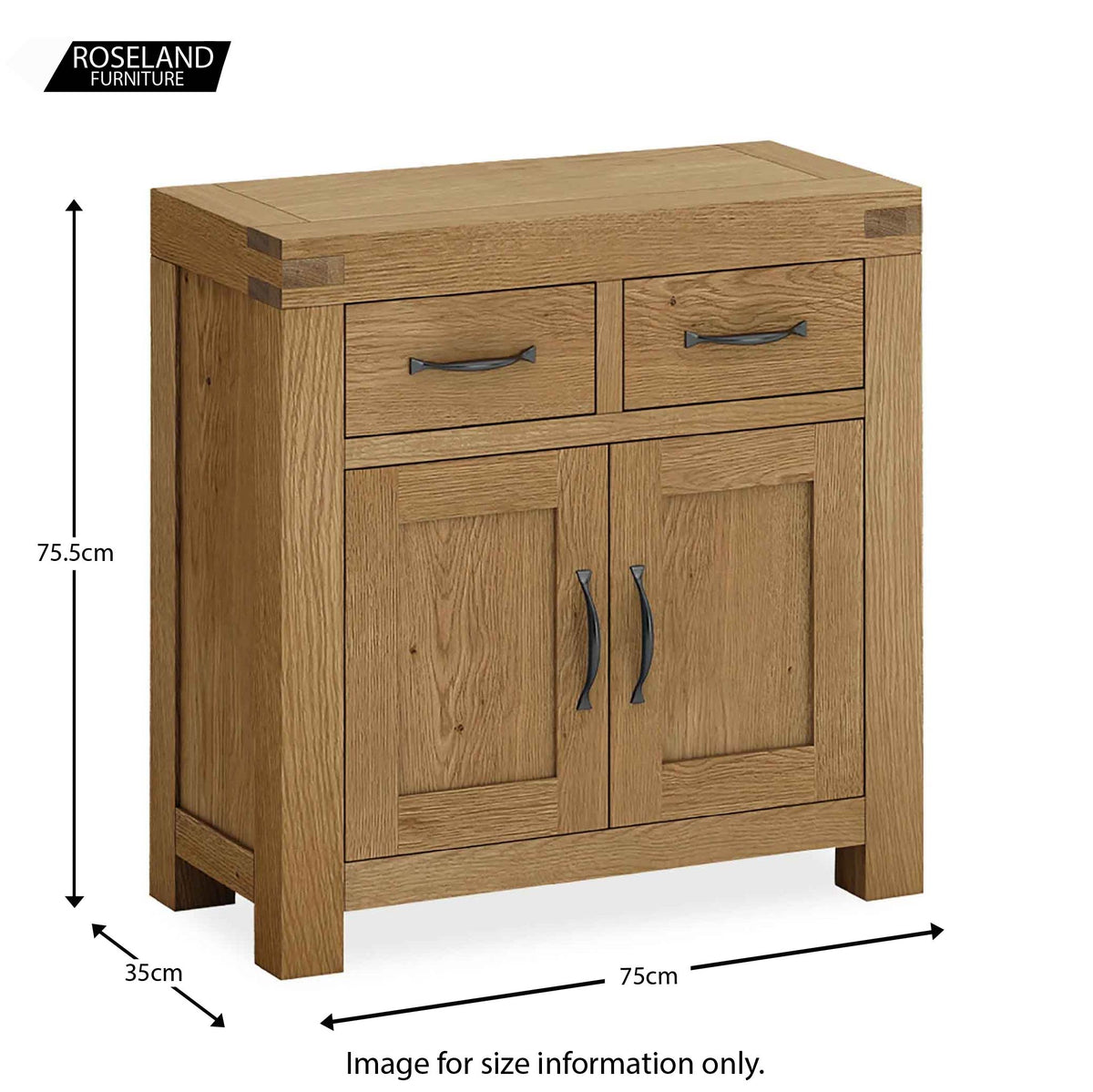 Abbey Grande Oak Mini Sideboard - Size guide
