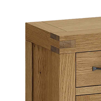 The Abbey Grande Oak Mini Sideboard - Close Up of Corner Detailing