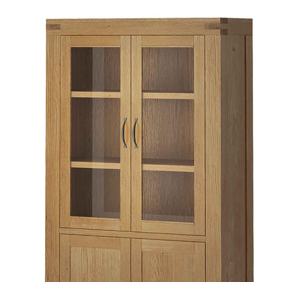 The Abbey Grande Oak and Glass Display Cabinet - Close Up of Glass Display
