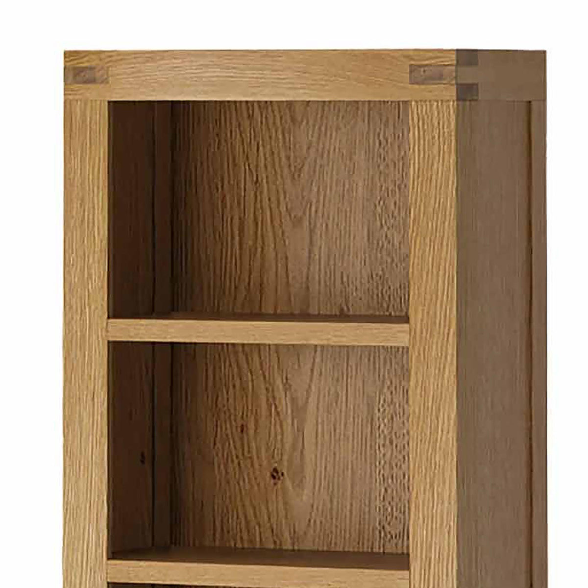 The Abbey Grande Tall Narrow Oak Bookcase - Close Up of Top of Bookcase