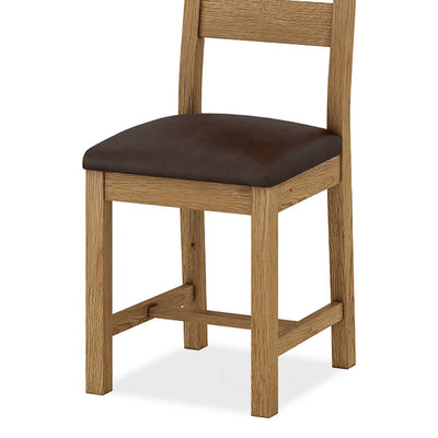 The Abbey Grande Solid Wood Oak Dining Chairs - Close Up of Base of Chair