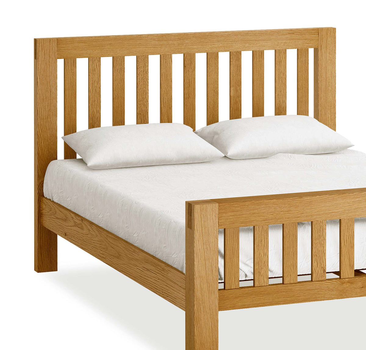 The Abbey Grande Wooden Oak Bed Frame Double or King Size - Close Up of Header