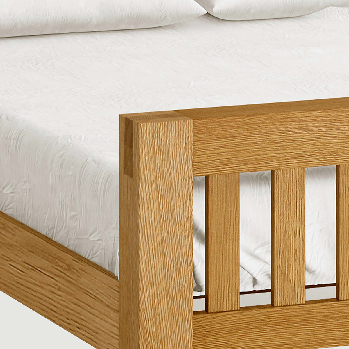 The Abbey Grande Wooden Oak Bed Frame Double or King Size - Close Up of Tenon Joints