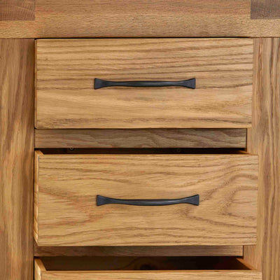 Abbey Grande Oak 3 Drawer Bedside Table - Close up of drawers open