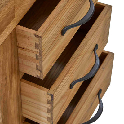 Abbey Grande Oak 3 Drawer Bedside Table - Side view with drawers open