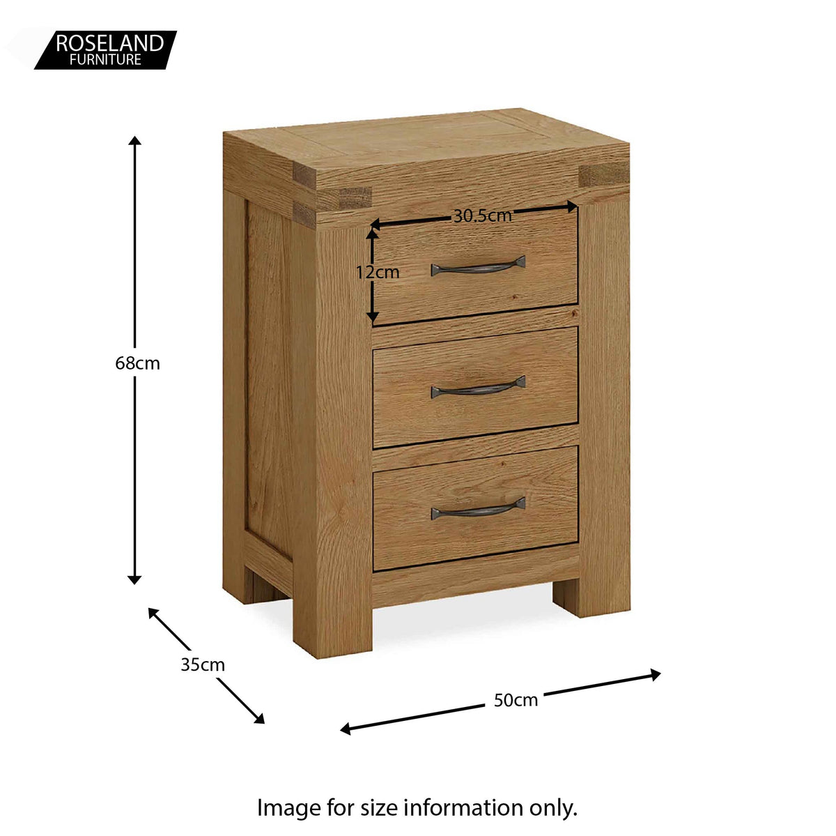 Abbey Grande Oak 3 Drawer Bedside Table - Size guide