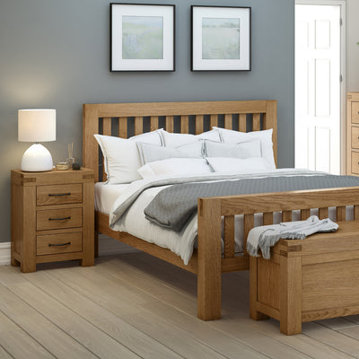 The Abbey Grande Wooden Oak 3 Drawer Bedside Table - Lifestyle View