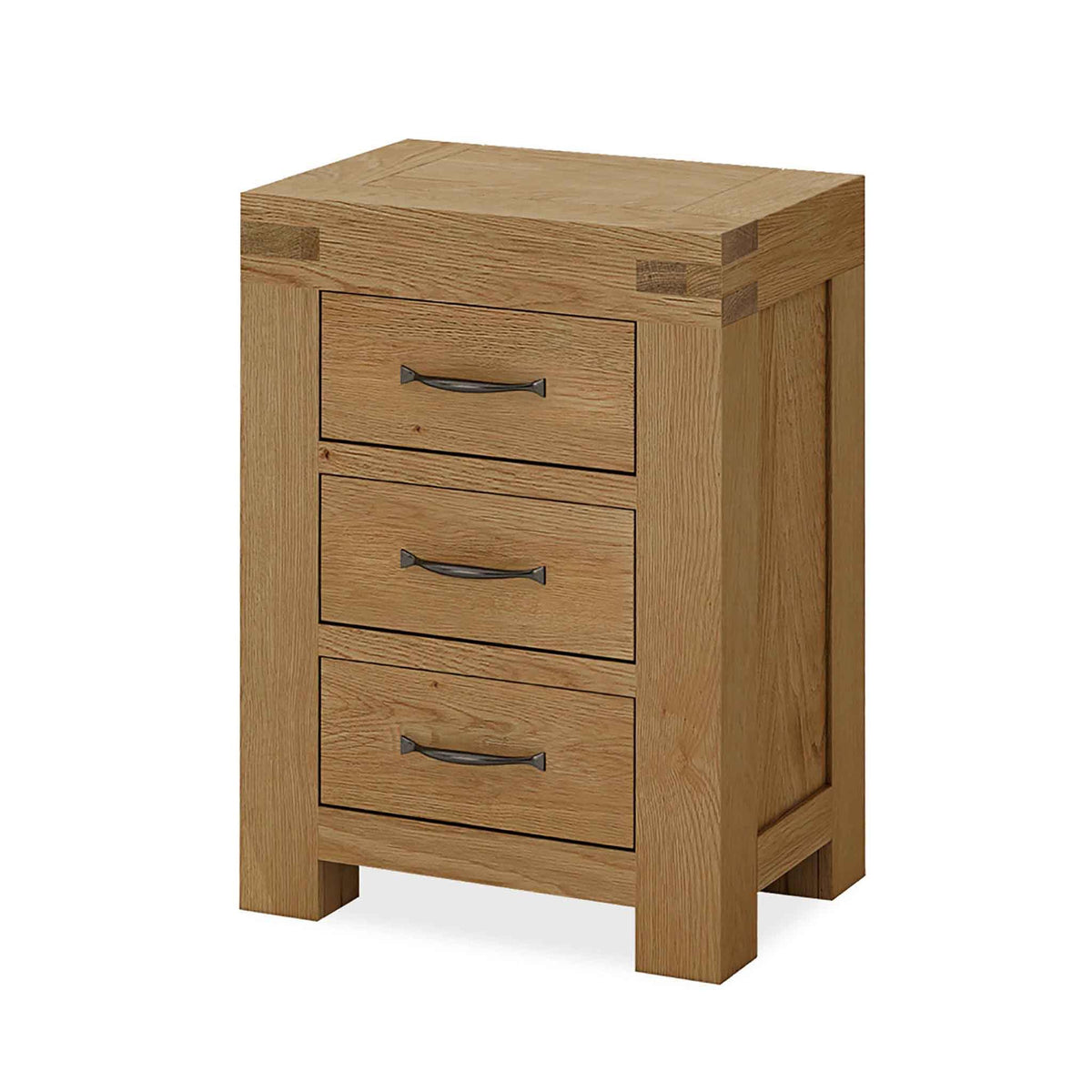 The Abbey Grande Wooden Oak 3 Drawer Bedside Table