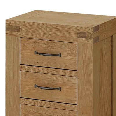 The Abbey Grande Wooden Oak 3 Drawer Bedside Table - Close Up
