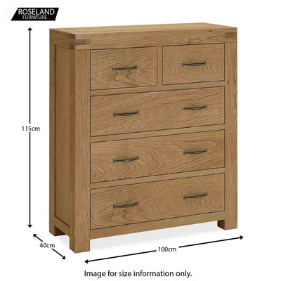 Abbey Grande Bedroom Chest of 5 Drawers - Size guide