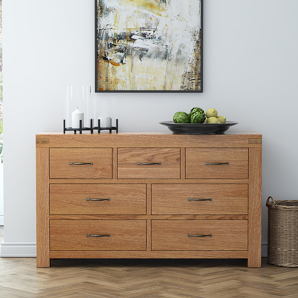 Abbey Grande Large Oak 3 Over 4 Chest of Drawers - Lifestyle