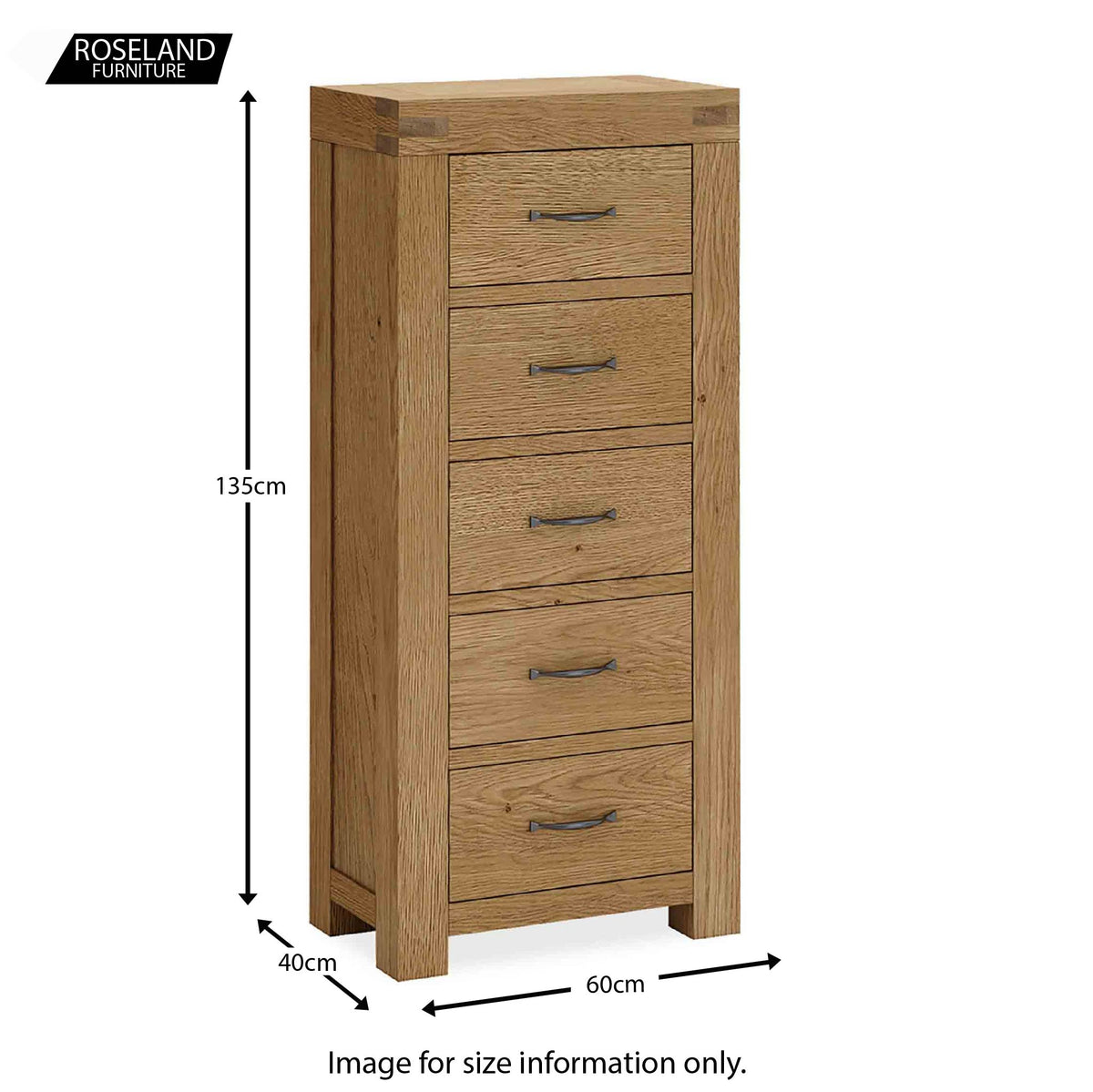 Abbey Grande Oak Tallboy - Size guide