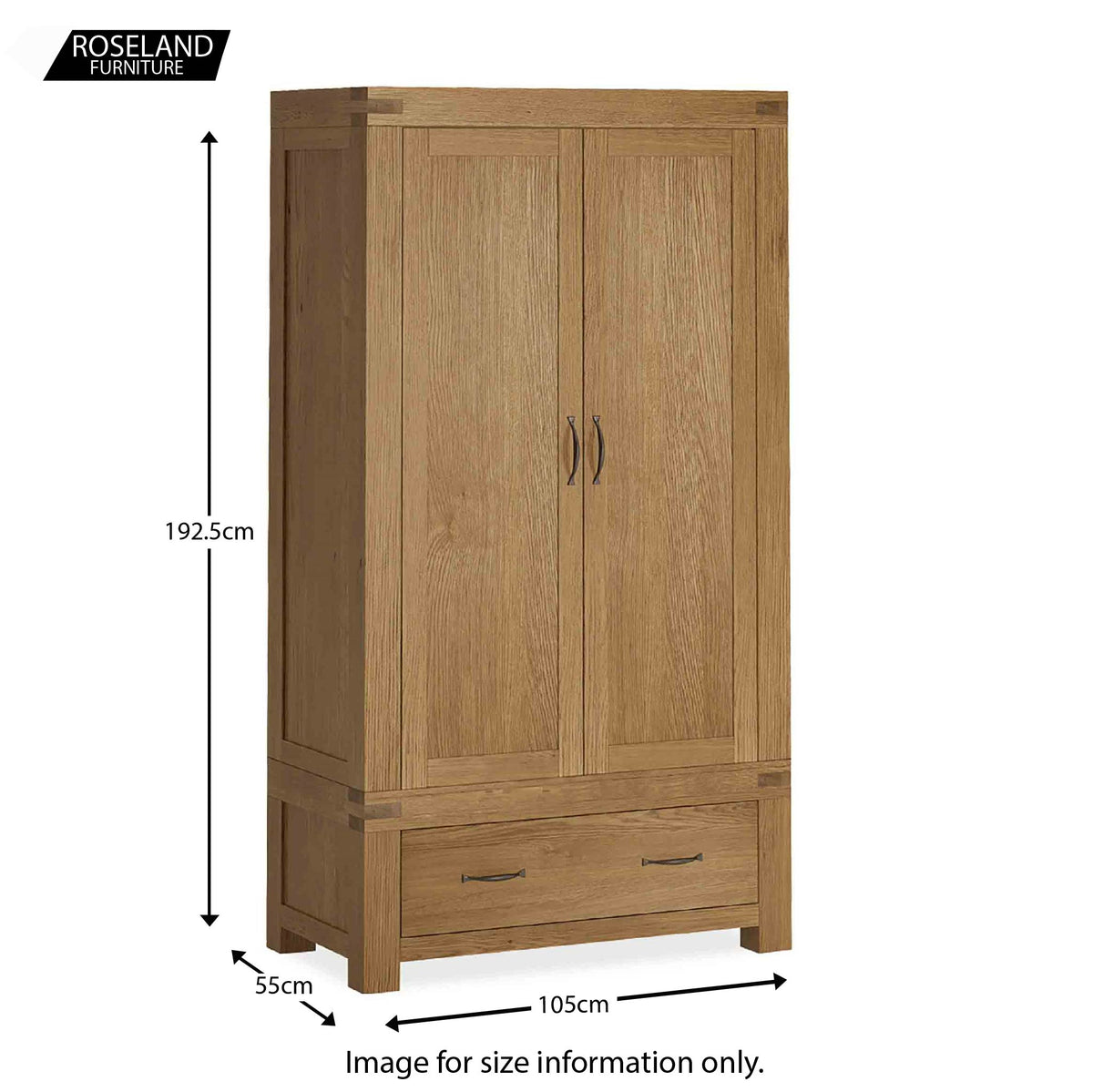 Abbey Grande Oak Double Wardrobe with Drawer - Size guide