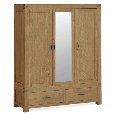 The Abbey Grande Large Oak 3 Door Triple Wardrobe with Drawers from Roseland Furniture